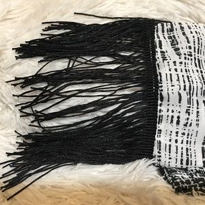 Black and White Cato Scarf, Fringed